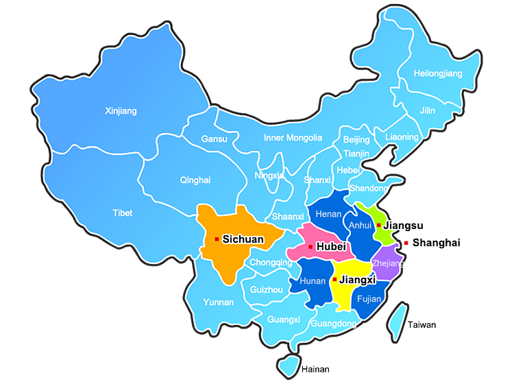 Sales network of Asia Cement (China) (from upstream areas of Yangtze River)